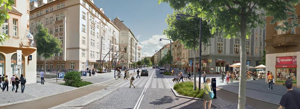 Vizualizace možné podoby rekonstrukce Dejvické ulice.