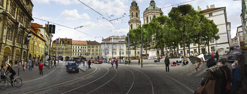 Vizualizace možné podoby rekonstrukce Malostranského náměstí.