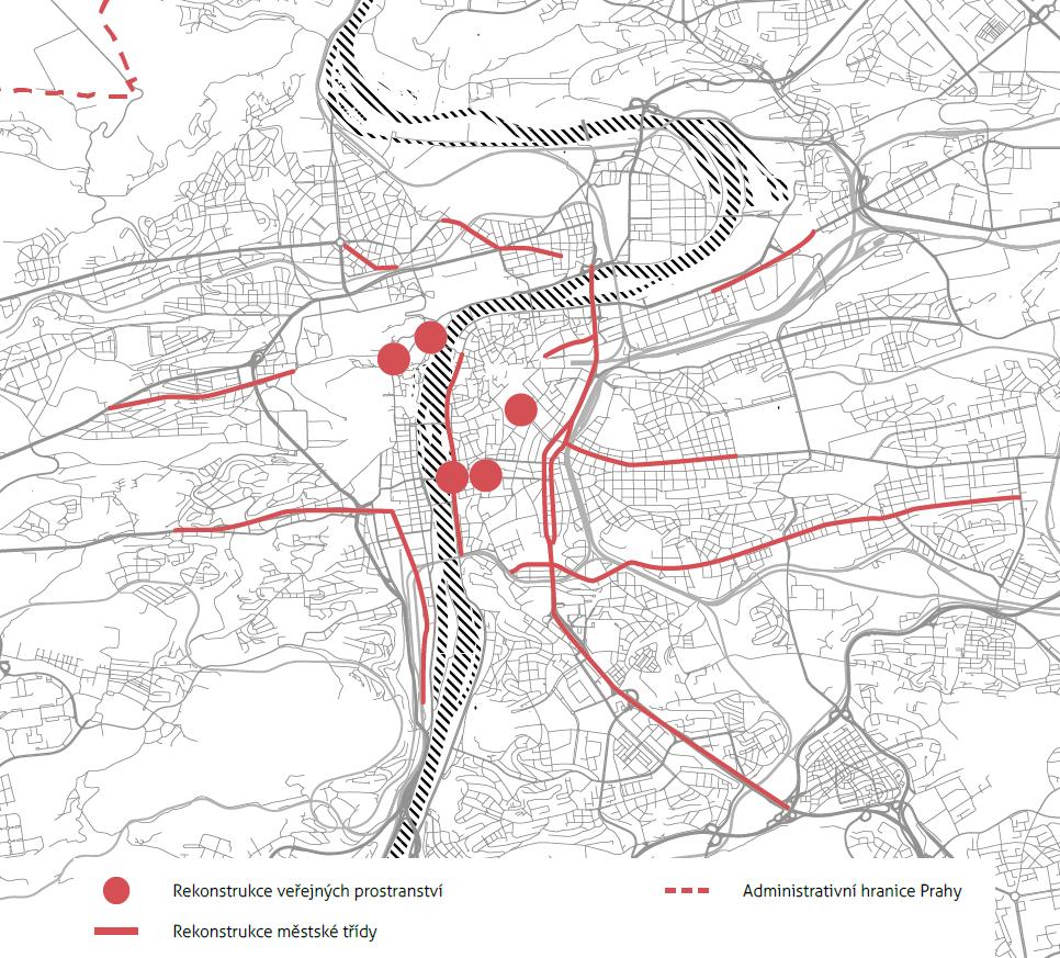 Revitalizace veřejného prostoru uvažovaná v rámci Vize pro Prahu 25 (kliknutím zvětšíte)