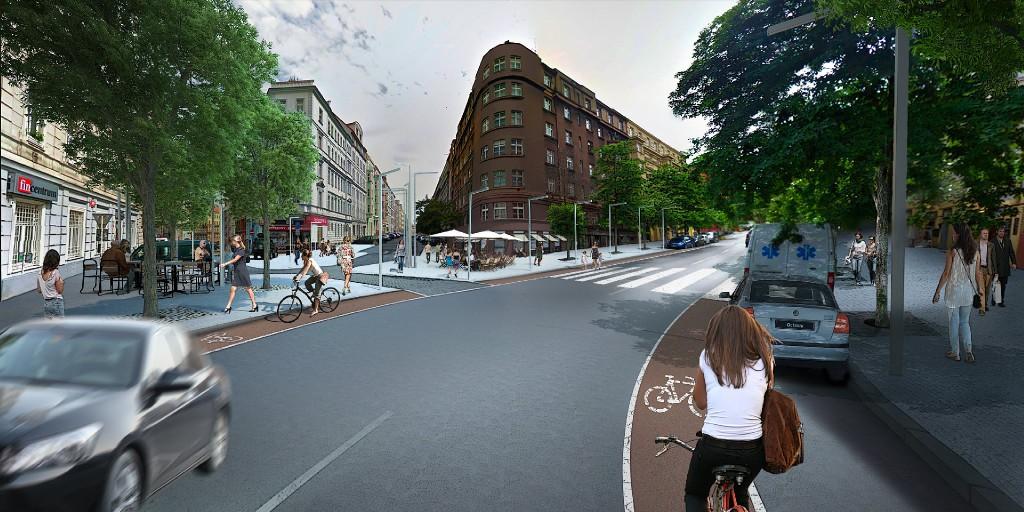Vizualizace možné podoby rekonstrukce Slavíkovy ulice.