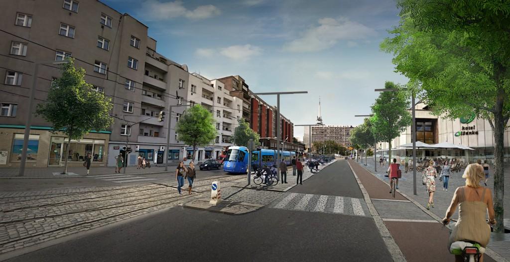 Vizualizace možné podoby rekonstrukce Olšanského náměstí.